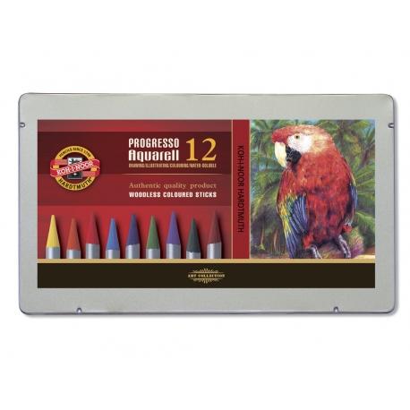 Akvarelové pastelové ceruzky v laku PROGRESSO,12ks