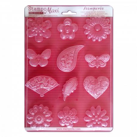 Plastová forma STAMPERIA A4 kvety, srdcia