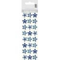 "Glitrové samolepky ""Kvety"" 24ks/bal modré"