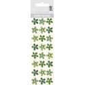 "Glitrové samolepky ""Kvety"" 24ks/bal zelené"