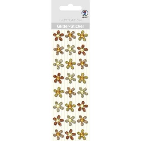 """Glitrové samolepky """"Kvety"""" 24ks/bal žlté"""