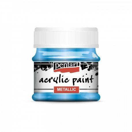 Akrylová farba 50ml, metalická modrá
