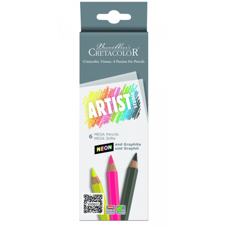 Sada grafitových mega ceruziek neon 6ks