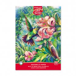 Blok na akvarelovú maľbu lepený Kolibríky, A4, gramáž 180g, 10 listov