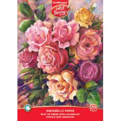 Blok na akvarelovú maľbu lepený Ruže, A4, gramáž 180g, 20 listov