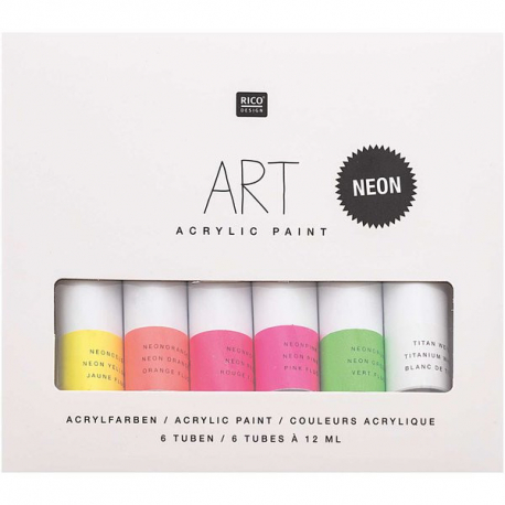 Sada akrylových farieb neónových 6x12ml