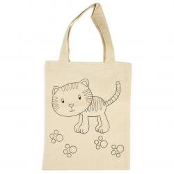 Bavlnená taška tlačná, mačka 21x25cm