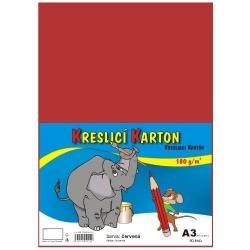 Školský kartón farebný A3 - 180g 50L/červený