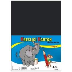Školský kartón farebný A3 - 180g 50L/čierny