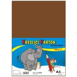 Školský kartón farebný A3 - 180g 50L/hnedý