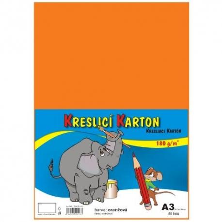 Školský kartón farebný A3 - 180g 50L/oranžový