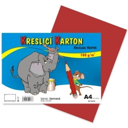 Školský kartón farebný A4 - 180g 50L/červený