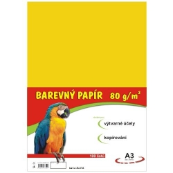 Farebný papier A3/80g 100L - žltý